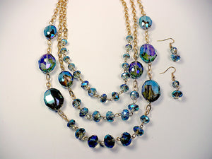 Iridescent Crystals Multistrand Necklace