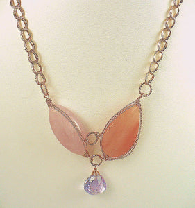 Rose and Peach Quartz Necklace