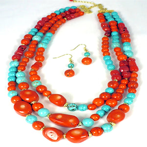 Mixed Stones Layered Necklace Set