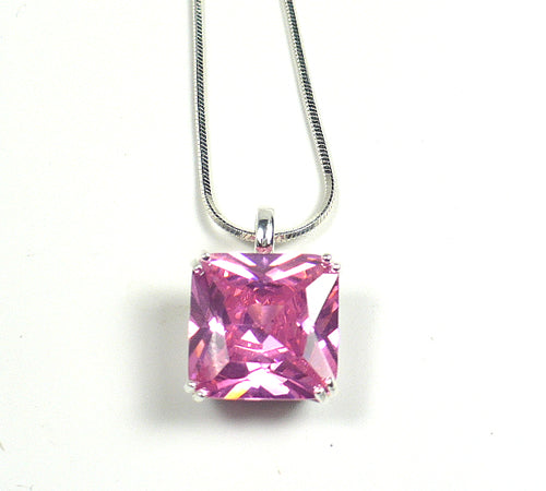 Pink CZ Sterling Silver Pendant