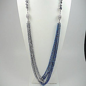 Royal Blue and Silver Multi Strands Necklace and Earrings Set