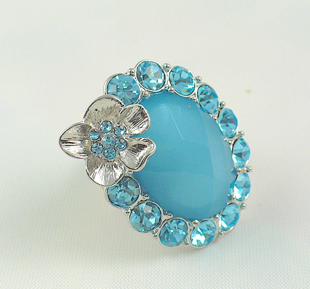 Blue Resin Bead and Crystals Stretch Ring