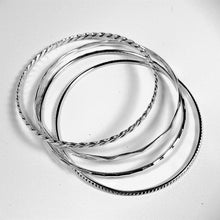 Italian Sterling Silver 4 Bangles Set.