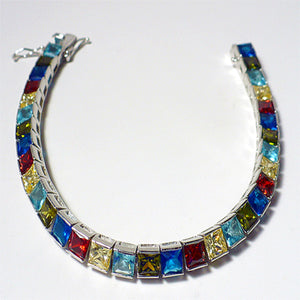 Multicolored CZ Sterling Silver Tennis Bracelet