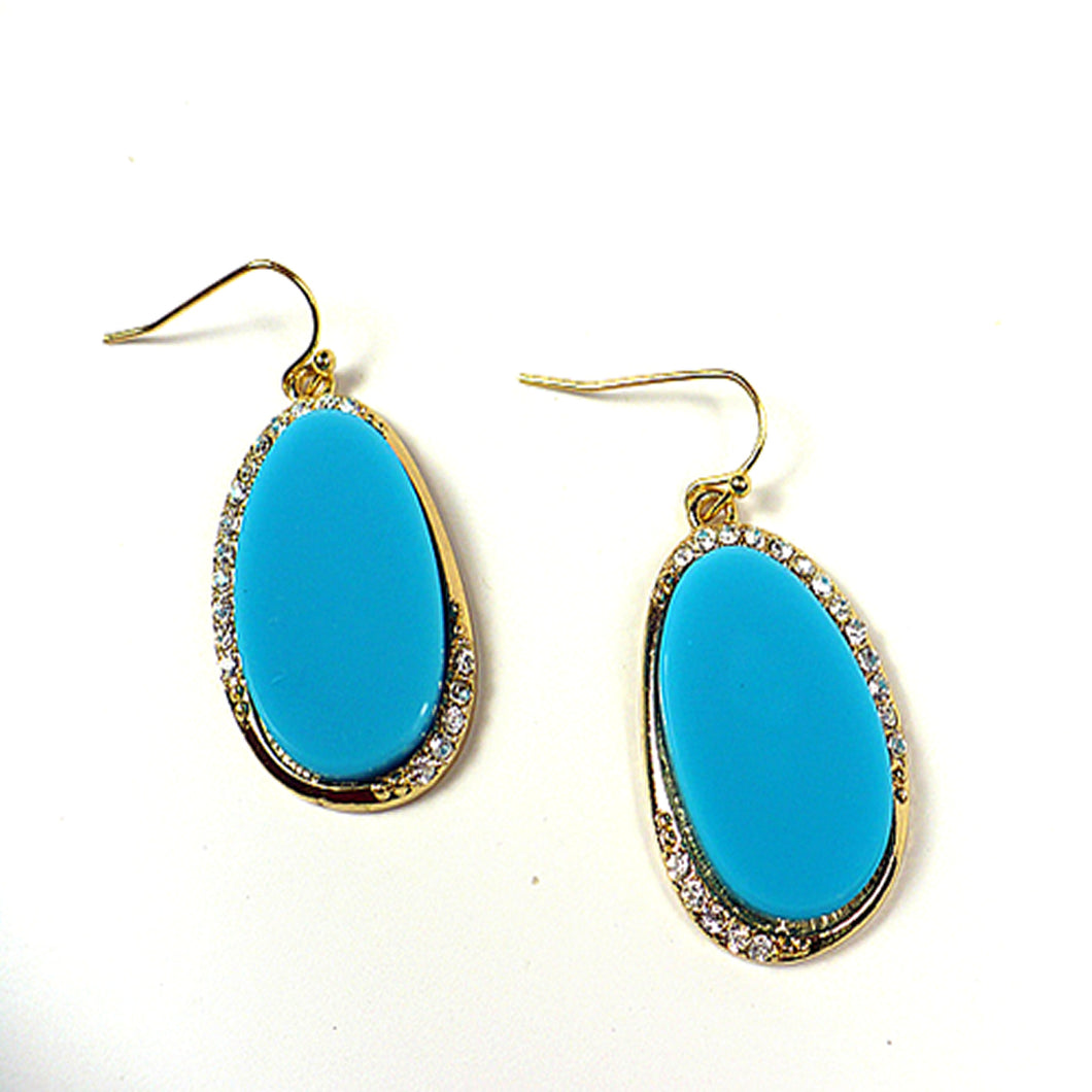 Aqua Oval Drop Earrings