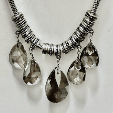 Beaded Gunmetal Deco Bib Necklace