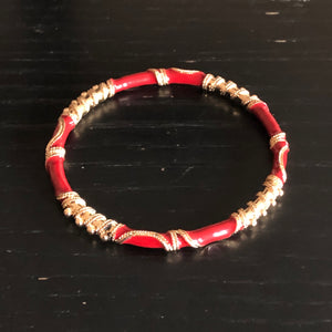 Red Gold Trimmed Enamel Bangle