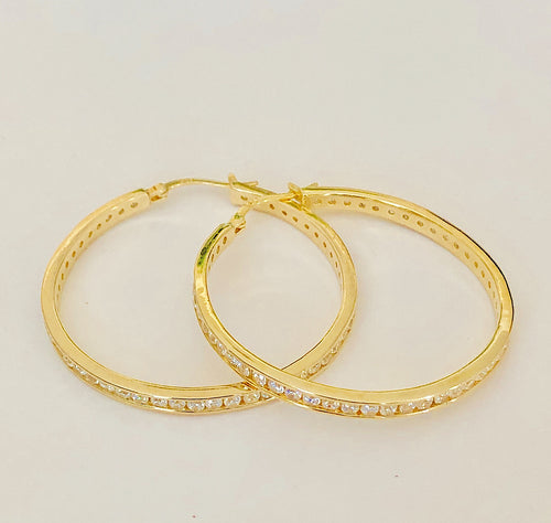 Yellow Gold Plated Sterling Silver and CZ Hoop Earrings