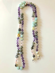 Natural Multi Beaded Long Necklace