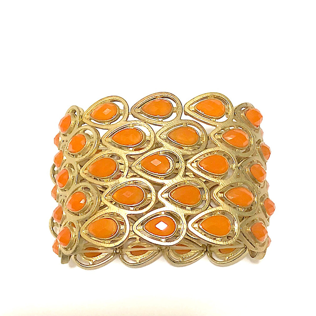 Orange Stone Stretch Bracelet