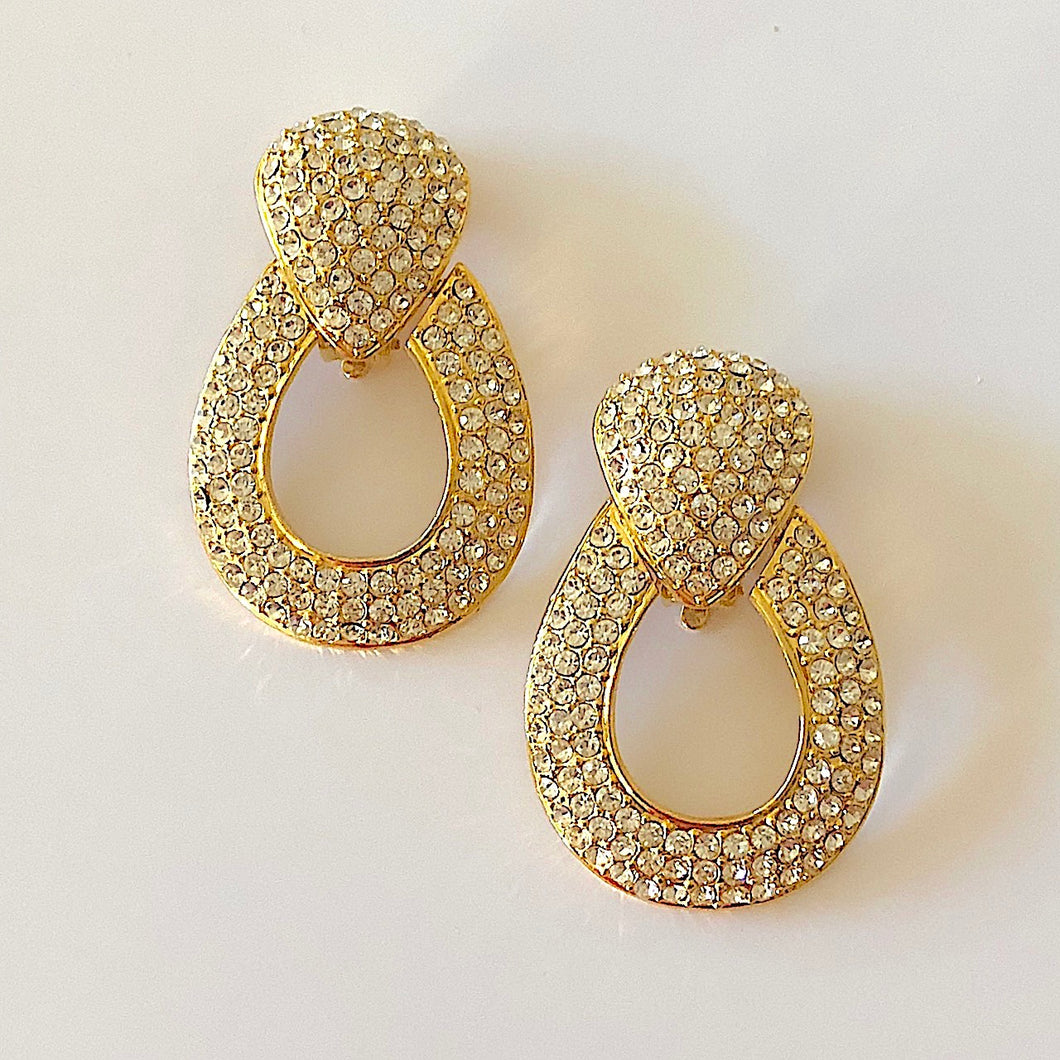 Gold Tone Pave Crystals Clip-On Drop Earrings