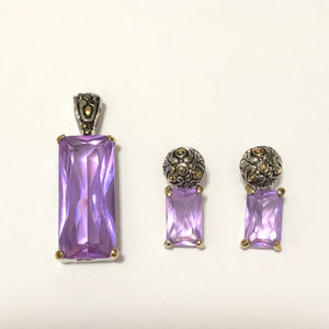 Lavender Pendant and Earrings Set