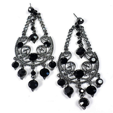 Black Swarovski Crystals Chandelier Earrings