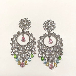 Filigree Multi CZ Silvertone Chandelier Earrings