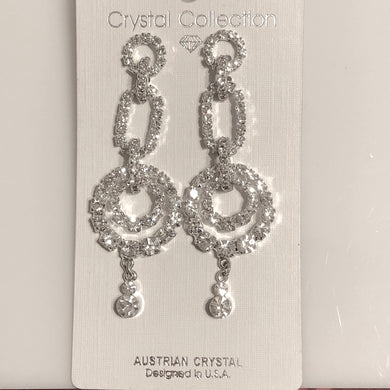 Clear Austrian Crystals Fashion Dangle Earrings