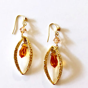 Topaz Color CZ Dangle Earrings