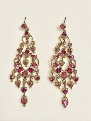 Crystals Hearts Chandelier Earrings