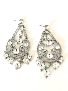Clear Crystals Chandelier Filigree Earrings
