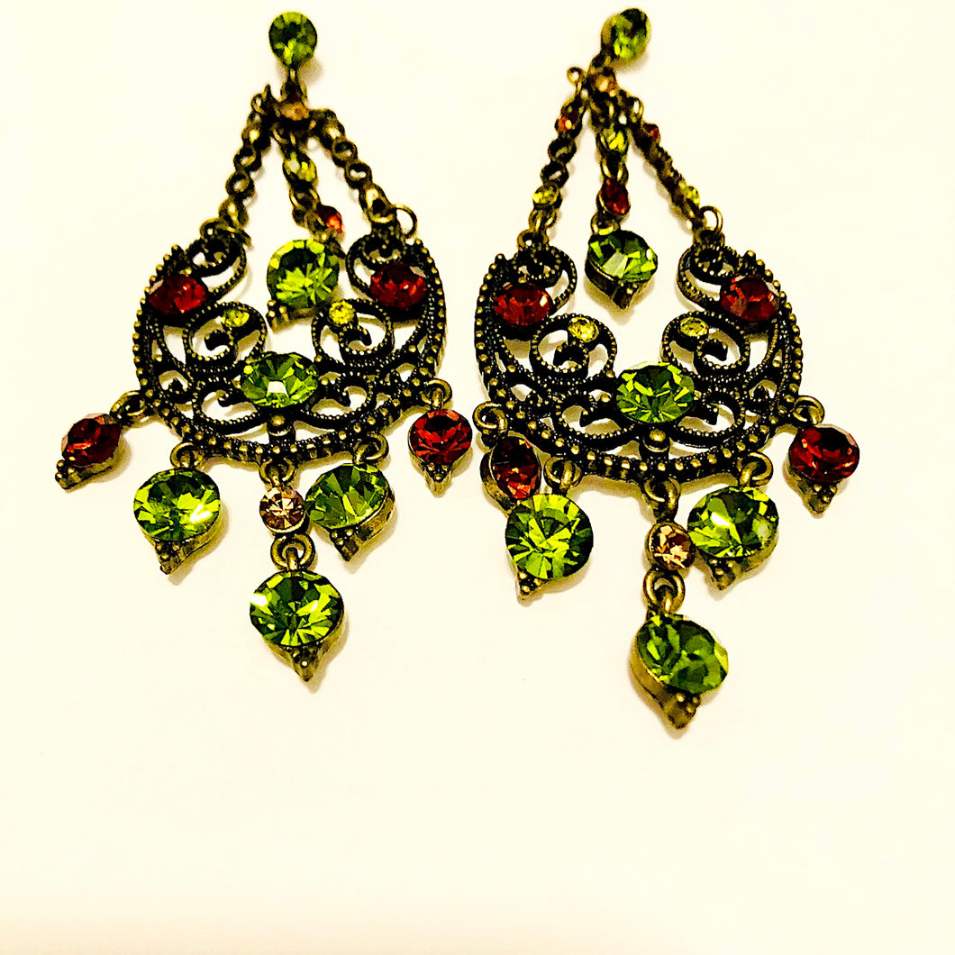 Green Vintage Style Chandelier Earrings