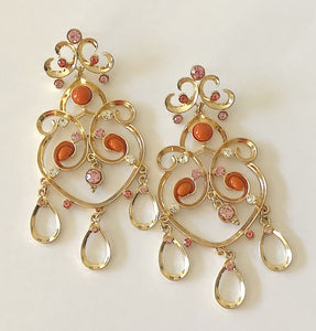 Colorful Beads and Crystals Chandelier Statement Earrings