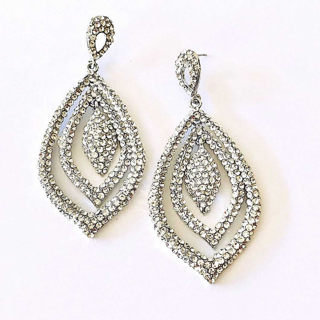 Pave Crystals Teardrop Fashion Earrings