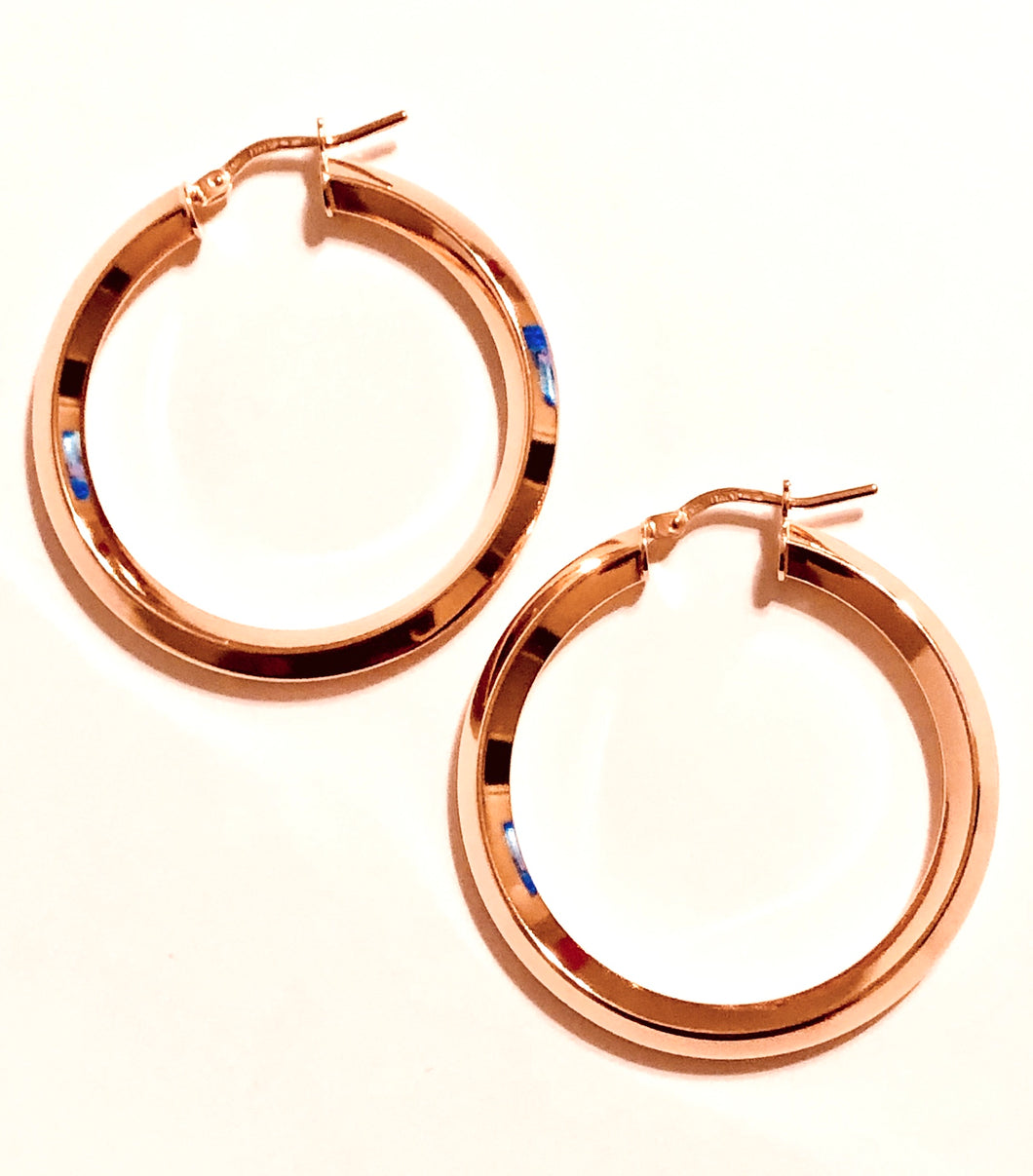Rose Gold Plated Edged Hoops
