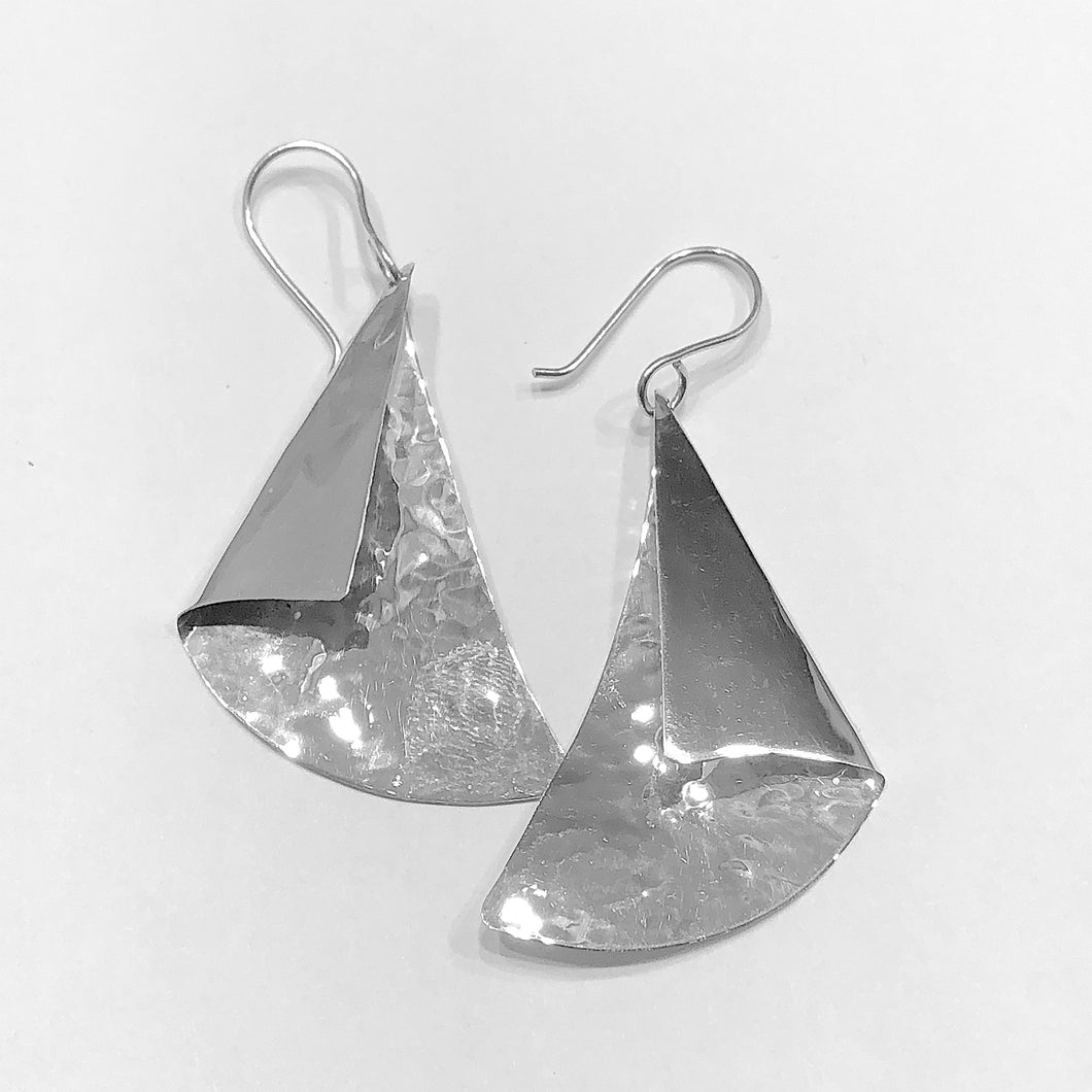 Sterling Silver Fold Over Triangle Earrings.