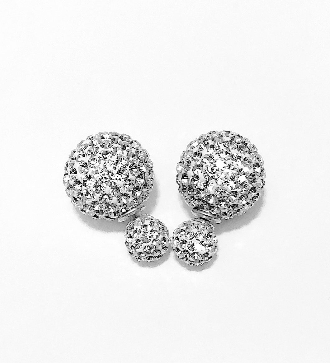 Sterling Silver Fireball Front-Back Design Earrings.