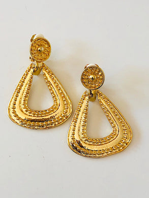 Goldtone Fashion Design Clip on Earrings