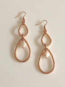 Karine Sultan Rose Gold-Plated Teardrop Pearl Earrings