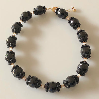 Black Onyx Bead Necklace and Earrings Set