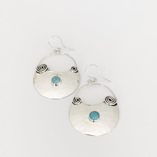 Crescent Sterling Silver and Turquoise Hoop Earrings