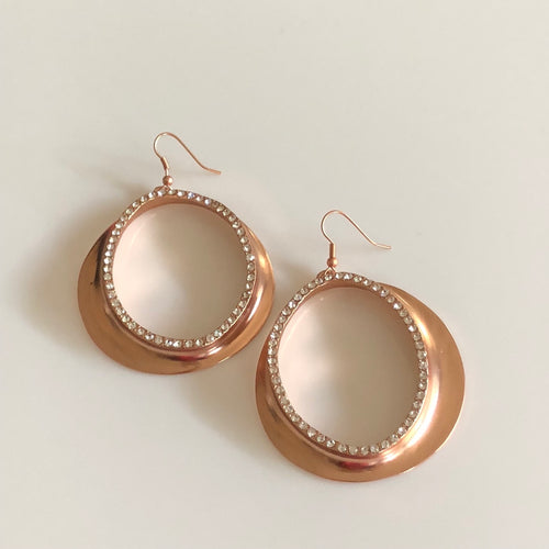 Rose Gold Plated Pewter Hoop Earrings
