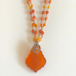 Filigree Orange  Beaded Necklace and Earrings