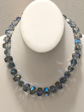 Blue Iridescent Beads Necklace Set
