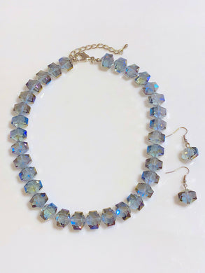 Blue Iridescent Beads Necklace