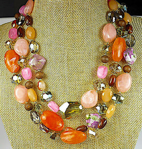 Multicolor Mixed Beads Statement Necklace