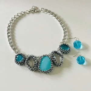Blue Jeweled Statement Necklace Set