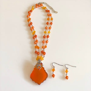 Filigree Orange  Beads Necklace and Earrings