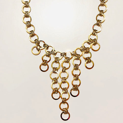 Goldtone Interlocking Circles Links Drop Necklace