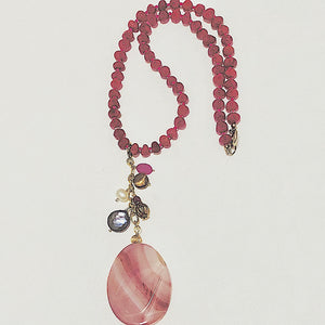 Pink Agate Banded Pendant Necklace