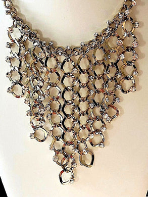 Crystal Fringe Bib Necklace and Earrings Set