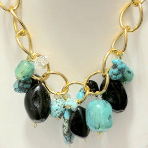 Turquoise Multi Beads Statement Necklace and Earring Set
