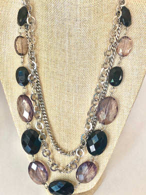 Beaded Multi-Chains Layered Necklace and Earrings