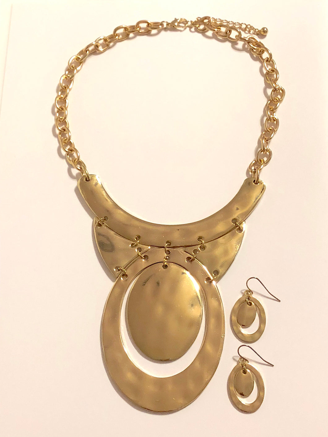 Satin Bronze Tone  Bib Necklace and Earrings