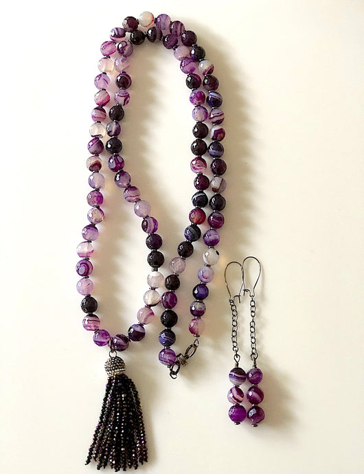 Long Amethyst Beaded Necklace and Earrings Set