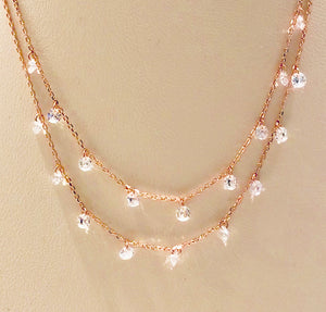 Rose Gold Plated Double Strands Necklace