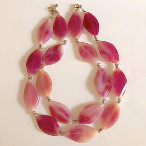 Pink Agate Double Strand Statement Necklace