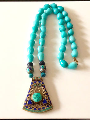Colorful Brass Pendant on Long Turquoise Necklace