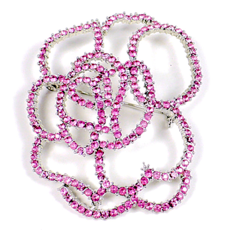 Pink Crystals Outline Flower Brooch